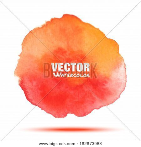 Bright red - orange transparent watercolor vector stain. Vibrant watercolor vector spot design element isolated on white background. Blur blot orange yellow watercolor vector illustration