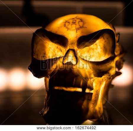 Scary Skull Accessory Lit Up In A Haunted House