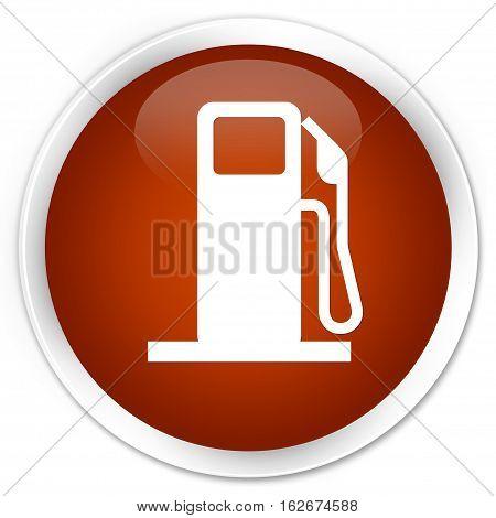 Fuel Dispenser Icon Premium Brown Round Button