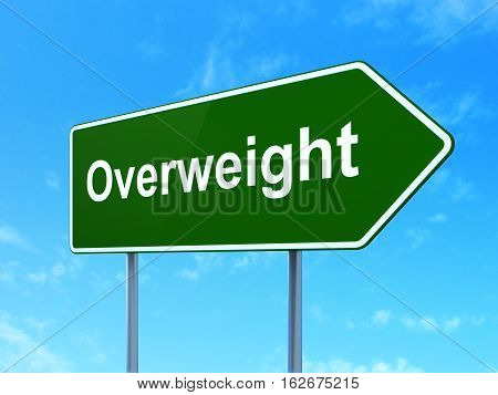 Healthcare concept: Overweight on green road highway sign, clear blue sky background, 3D rendering
