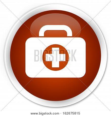 First Aid Kit Bag Icon Premium Brown Round Button