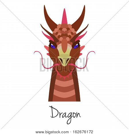 Vector red dragon face isolated. Animal of Chinese zodiac symbol. flat cartoon dragon head, Chinese new year symbol, poster, banner, print, advertisement, web design element.