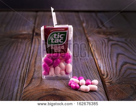 Chisinau Moldova - DEС 22 2016. Tic Tac mint. Tic Tac is a brand of small hard mints produced by Ferrero.