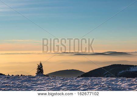 Amazing Winter Mountain Landscape At Dusk