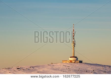Praded hill in beautiful evening light. Peak of transmitter is highest fixed point in Czech Republic.