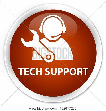 Tech Support Premium Brown Round Button