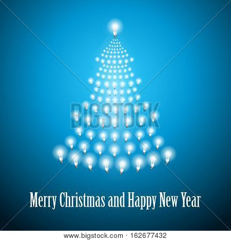 Shining New Year tree made of bulbs on blue luminous background.Luminous bulbs in shape of xmas firtree.Happy NewYear wish and Merry Christmas wish postcard, saving energy concept.