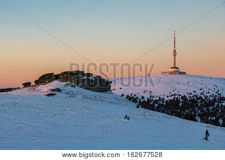 Peters stones and Praded hill with transmitter at sunset - Jeseniky hills Czech Republic Europe