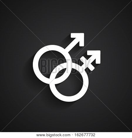 Trans gender white symbol on black background