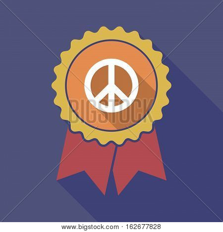 Long Shadow Badge With A Peace Sign