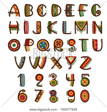 African ethnic primitive font. Hand drawn brightly safari vector alphabet. Letters abc type set illustration