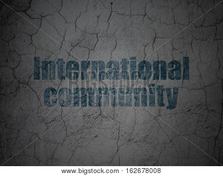 Politics concept: Blue International Community on grunge textured concrete wall background