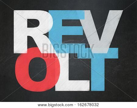 Political concept: Painted multicolor text Revolt on School board background, School Board