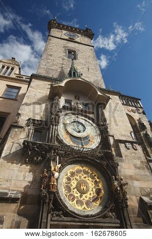 Town Hall Tower With The Horologe, The Medieval Astronomic Clock, Prague