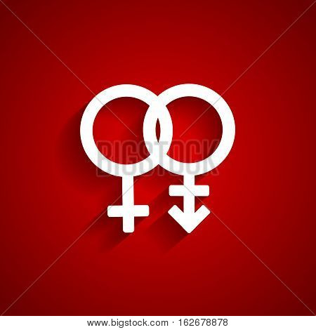 Trans gender white symbol on red background