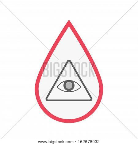 Isolated Blood Drop With An All Seeing Eye