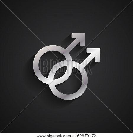 Homosexual gender silver symbol on black background