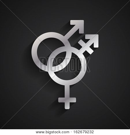 Trans gender silver symbol on black background