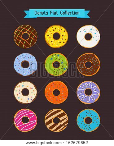 Donuts flat icons. Donut and coffee shop vector elements. Set of snack dessert illustration