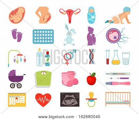 Conceiving child and pregnancy, prenatal childbearing and birth, motherhood and child flat vector icons. Birth baby and newborn illustration poster