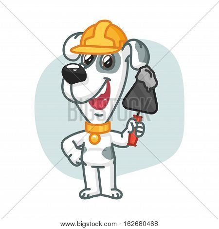 Vector Illustration, Dog Builder Holding Trowel with Cement, Format EPS 8