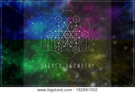 Sacred geometry vector design element. Alchemy, hipster sacred symbols on a abstract cosmic background with shining stars and color squares.