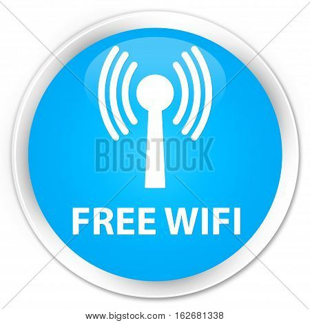 Free Wifi (wlan Network) Premium Cyan Blue Round Button