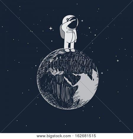 Cartoon little astronaut standing on the Earth .Childish vector illustration