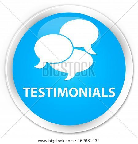 Testimonials (comments Icon) Premium Cyan Blue Round Button
