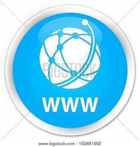 Www (global Network Icon) Premium Cyan Blue Round Button