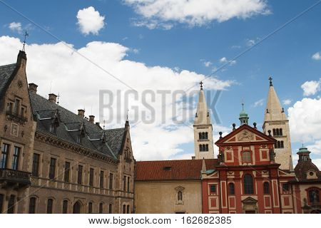 St. George's Basilica And People's Gallery In Prague Castle. Czech