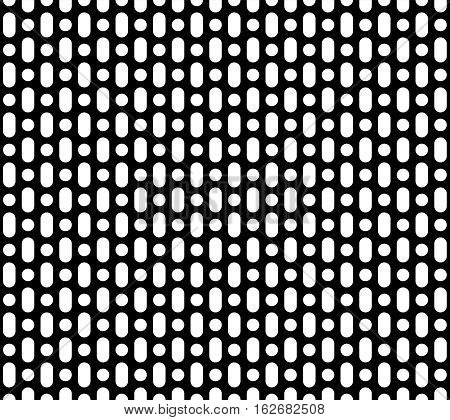 Vector monochrome seamless pattern, simple geometric background, black & white perforated surface. Abstract endless texture for prints, decoration, textile, digital, web, package, textile, wrapping