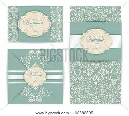 vector vintage luxury baroque damask style invitation card set. Background texture, poster advertisement banner, print, presentation, greeting post card design element