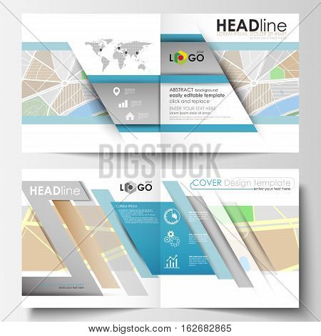 Business templates for square bi fold brochure, magazine, flyer, report. Leaflet cover, easy editable layout. City map with streets. Flat design template, tourism businesses, abstract vector illustration.