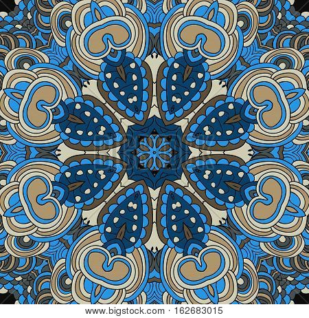 Vector abstract boho colored pattern with floral ornament. Hand drawn repeating element.  Ethnic background. Gypsy pattern.
