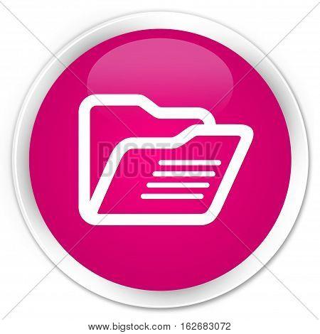 Folder Icon Premium Pink Round Button