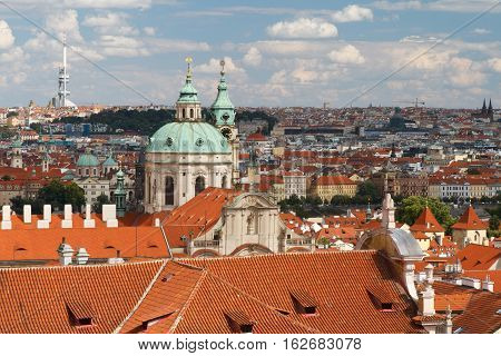 View Of The Cathedral Of St. Nicholas In Mala Strana Prague. Czech