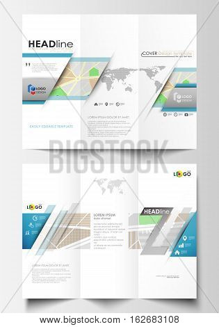 Tri-fold brochure business templates on both sides. Easy editable abstract layout in flat design. City map with streets. Flat design template for tourism businesses, abstract vector illustration.
