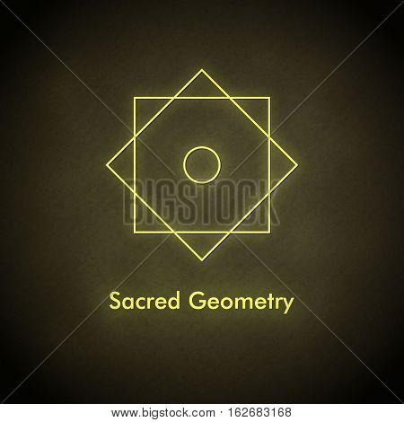 Sacred geometry. Vector balance symbol. Yellow and dark brown colors.