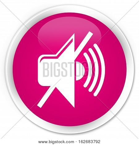 Mute Volume Icon Premium Pink Round Button