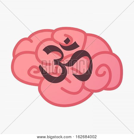 Isolated Brain With An Om Sign