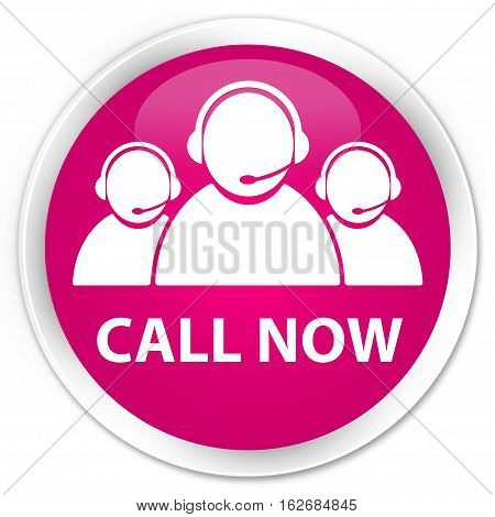 Call Now (customer Care Team Icon) Premium Pink Round Button