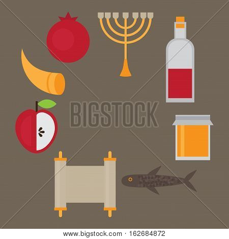 Rosh Hashanah Jewish New Year greeting card. Hebrew symbols. Judaism elements. Judaic religion