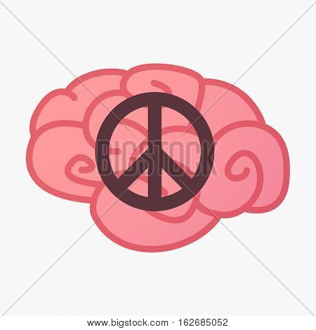 Isolated Brain With A Peace Sign
