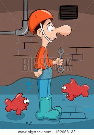Cute man and the evil fish. Funny illustration