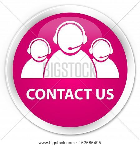 Contact Us (customer Care Team Icon) Premium Pink Round Button