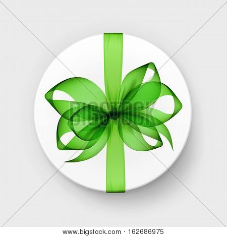 Vector White Round Gift Box with Transparent Light Green Bow and Ribbon Top View Close up Isolated on Background