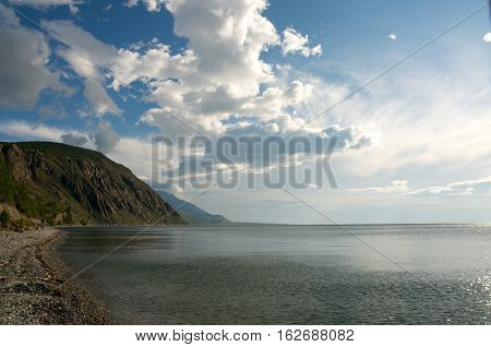 Baikal landscape with green spring forest, Russia. Siberia