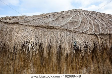 Roof of hut or hut of straw used for shelter in the Andean highlands