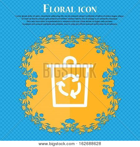 Bucket Icon Sign. Floral Flat Design On A Blue Abstract Background With Place For Your Text. Vector